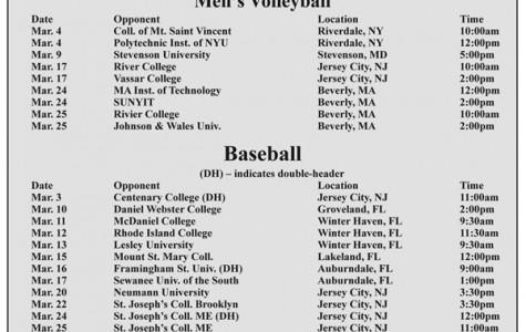 March 2012 NJCU Athletics Schedule – Mens' Volleyball & Baseball