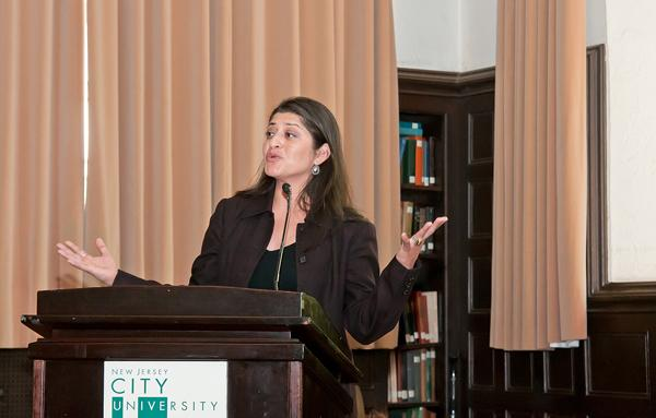 Nina Alvarez speaking at NJCU. Courtesy of Office of Public Information and Community Relations