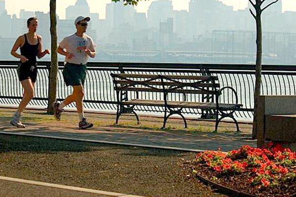 In Hoboken, New Jersey, jogging along the Hudson River shoreline is an activity done regularly by hundreds of locals who are looking to stay in shape. Photo credit www.photographersdirect.com