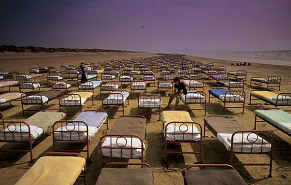 """Storm Thorgerson created this eerie image for Pink Floyd's album, A Momentary Lapse of Reason. NJCU professor Roddy Bogawa made a film about Thorgerson called """"Taken By Storm."""" Bogawa recently had a mid-career retrospective at MoMA in New York City."""