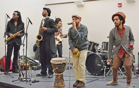 Brown Rice Family from Brooklyn, New York performing a set in the GSUB lobby on Dec. 4. *Photo by Antonio Talamo