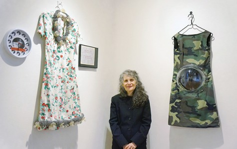 Mimi Smith, above, presaging the feminist artist movement, stands by her works, Slave Ready and Camouflage Maternity Dress. Photos by Victoria Rozario