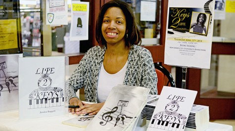 Self published author Jessica Baggett, media arts major of Jersey City, at her book signing at the NJCU bookstore. Photo by Dakota Santiago