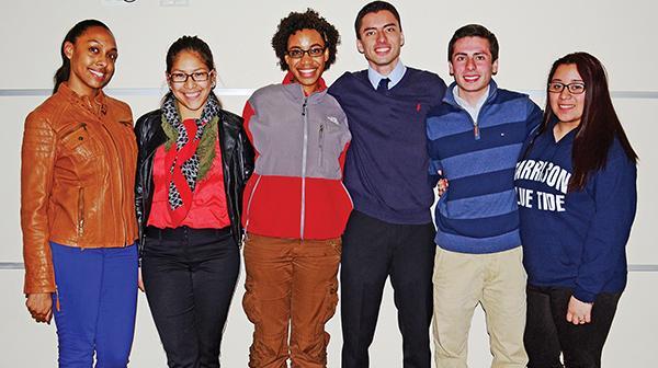 A few members of the new SGO staff of 2014-2015. Left to right: Stephanie Pena, Liz Jimenez, Miraclea Adams, Esteban Morales, Christian Verga, Priscilla Casco. Photo by Dakota Santiago