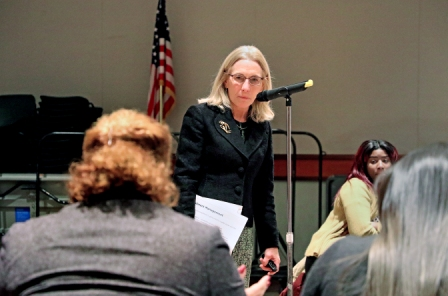 """""""President Sue Henderson speaks at SGO council meeting to answer sought after questions."""