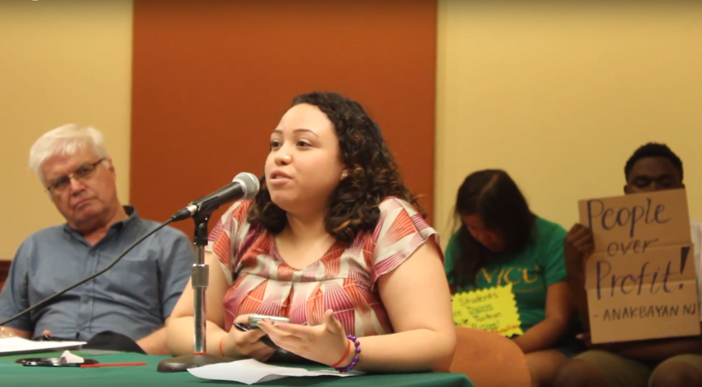 STUDENTS SPEAK OUT: Beatriz Villatoro speaking at the Board of Trustees meeting regarding an increase in tuition over the summer. Courtesy of Ruthie Arroyo.