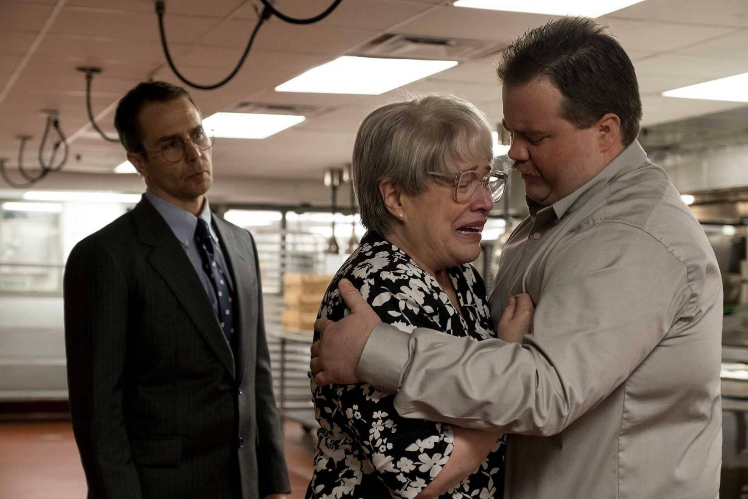 Pictured from left to right: Sam Rockwell, Kathy Bates, and Paul Walter Hauser.  Courtesy of Warner Bros.