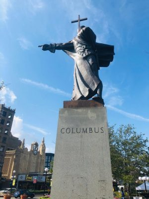 Statue of Christopher Columbus located in the Journal Square region of Jersey City, NJ.