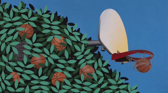 The summer themed basketball painting by Slaby. Photo courtesy of Deep Space / Artsy.