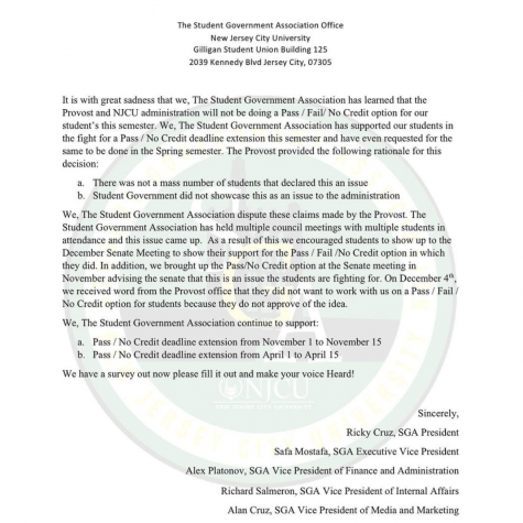 The SGA letter that was posted to their Instagram page on December 17.