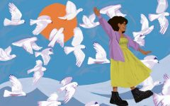 DeSouza displays herself artistically in a state of freedom, with doves surrounding her and the sun high in the sky.
